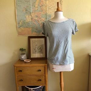 Madewell Green and White Striped Short Sleeve Shir